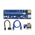 PCI-E 1x to 16x Powered USB 3.0 Extender Riser Adapter Card version 009S